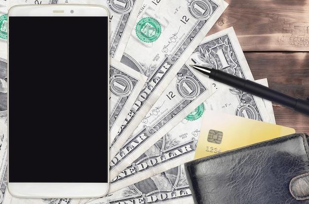 Купюры в 1 доллар сша и смартфон с кошельком и кредитной картой
