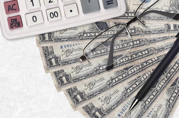 1 доллар сша банкноты вентилятор и калькулятор с очками и ручкой