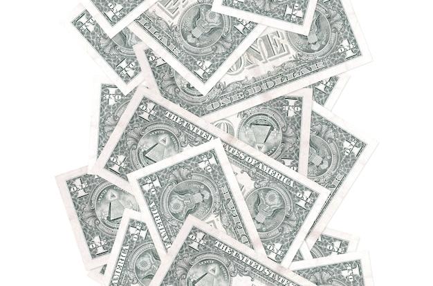 1 доллар сша, летящие вниз изолированные на белом