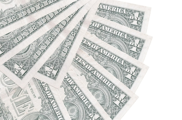 1 us dollar bills lies isolated on white wall with copy space stacked in fan shape close up. financial transactions concept