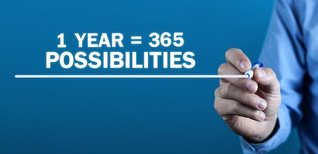 1 년 365 가능성. 긍정적 인 생각. 비즈니스 개념