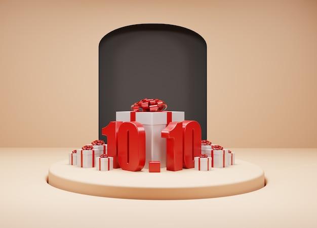 10.10 sale 3d gift box design 3d rendering background