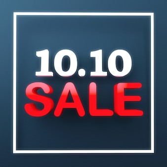10.10 sale promotion banner sign for advertising on blue background. october tenth day sale promo. business and retail concept. 3d illustration rendering.