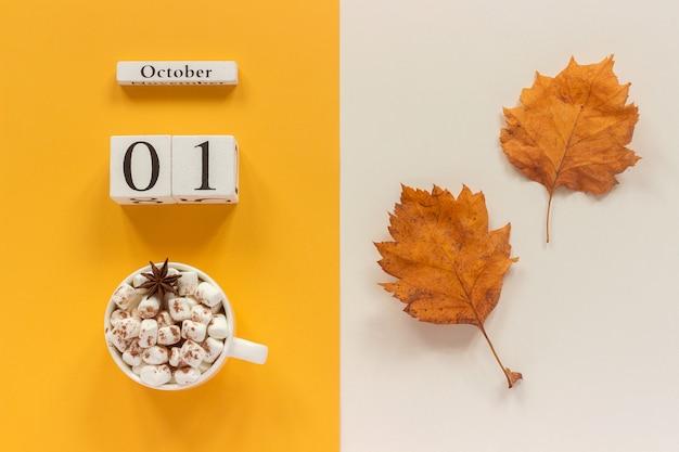 木製カレンダー10月1日