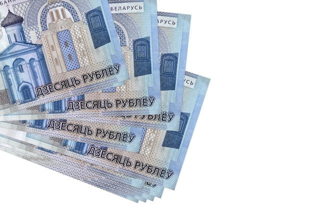 10 belorussian rubles bills lies in small bunch or pack isolated on white