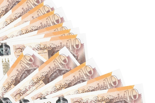 10 british pounds bills lies isolated on white