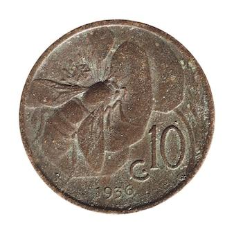 10セント硬貨、イタリアは白で隔離