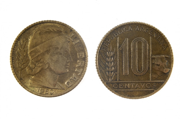 10 centavos old coin of argentina