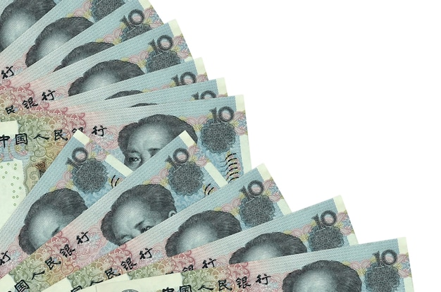 10 chinese yuan bills lies isolated on white background with copy space stacked in fan close up