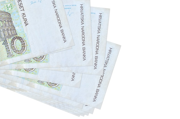 10 croatian kuna bills lies in small bunch or pack isolated on white