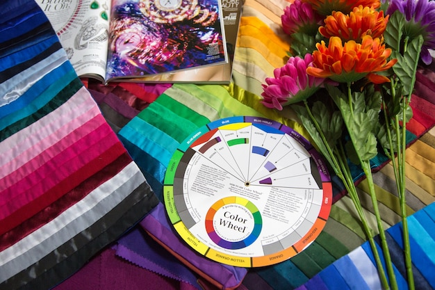 10 december 2018,bangkok.thailand. coloring matching design for dress concept with color wheel equipment of coloring science.