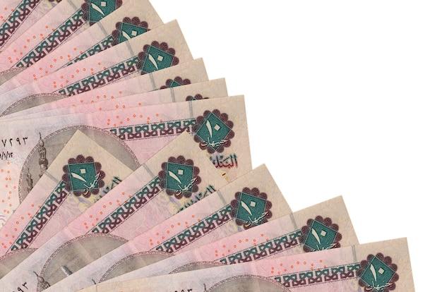 Банкноты 10 египетских фунтов лежат изолированно сложенными в веер крупным планом. понятие времени выплаты жалованья или финансовые операции