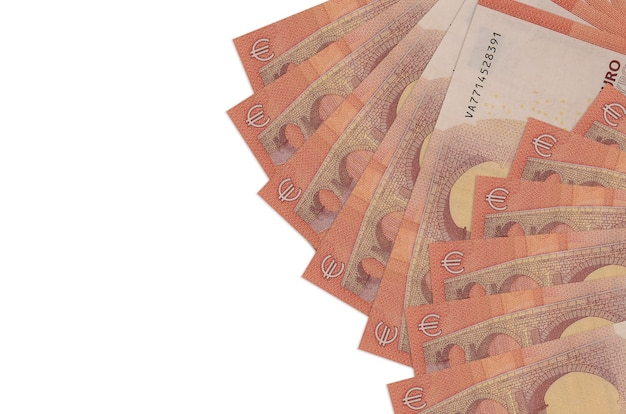 10 euro bills lies isolated on white wall with copy space.  big amount of national currency wealth