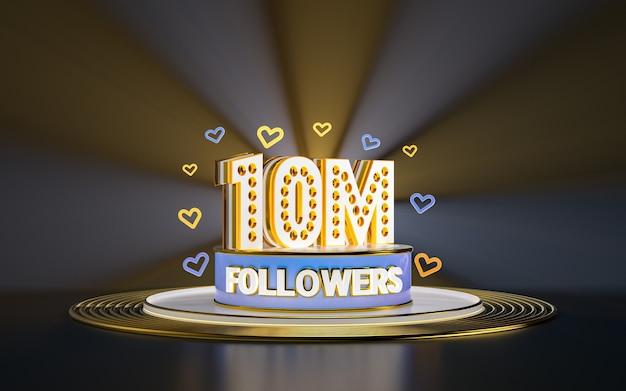 Празднование 10 миллионов подписчиков спасибо баннер в социальных сетях с золотым фоном прожектора 3d