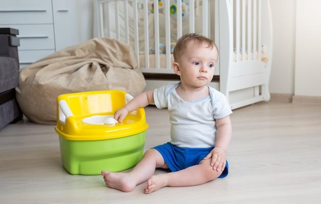 챔버 냄비 사용에 익숙해지는 10개월 아기