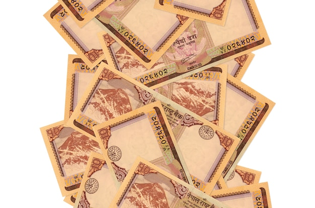 10 nepalese rupees bills flying down isolated  . many banknotes falling with white copy space on left and right side
