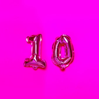 10 number helium balloon on a pink background. congratulation.