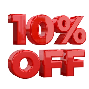 10% off on white background, special offer, great offer, sale. ten percent off promotional advertising banner