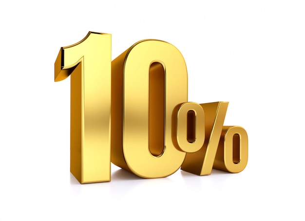 10 percent on white background. 3d rendering gold metal discount. 10%