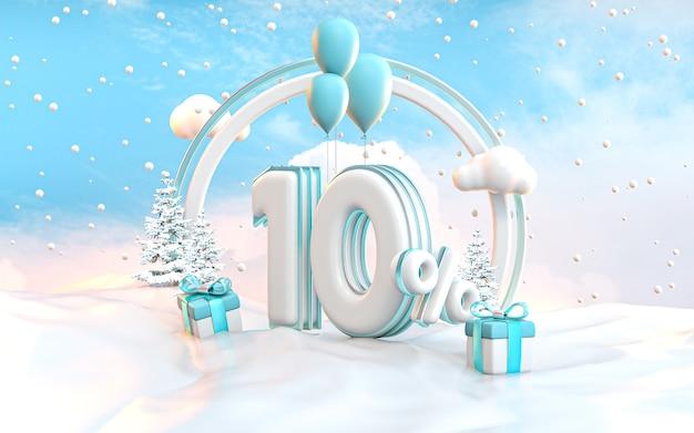 ソーシャルメディアプロモーションポスター3dレンダリングの10%冬の特別オファー割引の背景