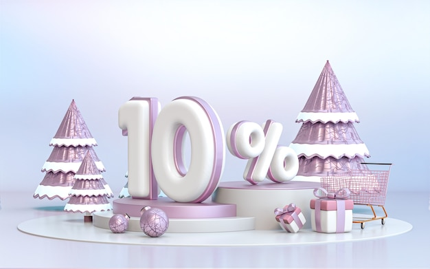 10 percent winter special offer discount background for social media promotion poster 3d rendering