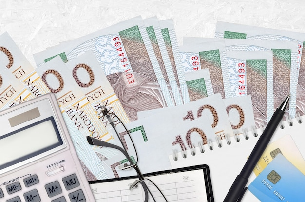 10 polish zloty bills and calculator with glasses and pen.