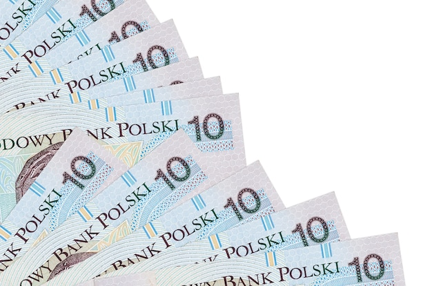10 polish zloty bills lies isolated on white wall with copy space stacked in fan close up. payday time concept or financial operations