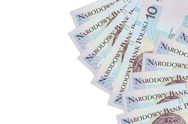 10 polish zloty bills lies isolated on white