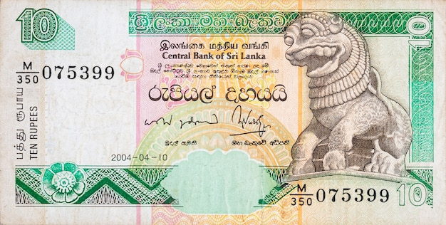 10 sri lankan rupees money bill colored banknote fragment