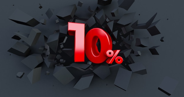 10 ten percent sale. black friday idea. up to 10%. broken black wall with 10% in the center