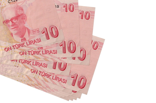 10 turkish liras bills lies in small bunch or pack isolated on white.  business and currency exchange concept