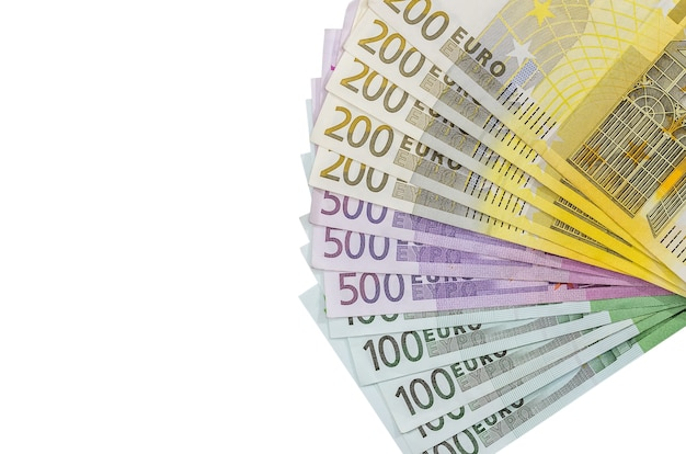100 200 500 euro bills isolated on white