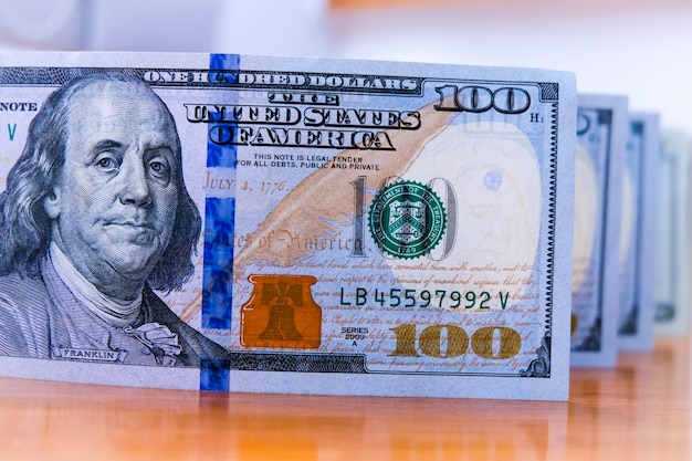 100 dollar banknotes. benjamin franklin on paper for america cash payment.