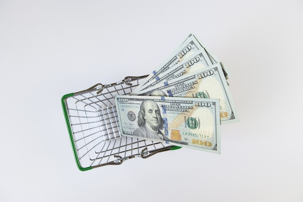 100 dollar bills in a mini shopping basket on a white background top view flat lay