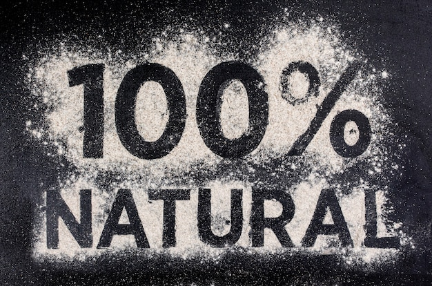 100 natural, gluten free food, word made of flour