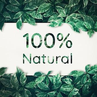 100% натуральный с зелеными листьями