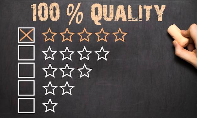 100 процентов качества пять золотых звезд на доске