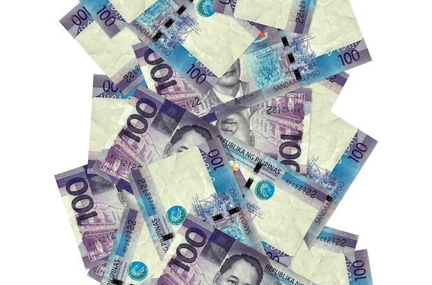 100 philippine piso bills flying down isolated on white. many banknotes falling with white copy space on left and right side