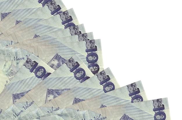 100 philippine piso bills lies isolated on white