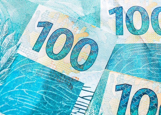 100 reais brazilian real banknotes in macro photography with top view