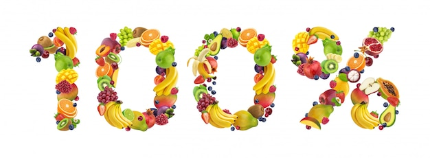 100% sign made from fruits and berries isolated on white, 100% natural concept