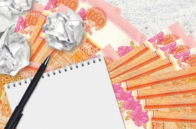 100スリランカルピー紙幣と空白のメモ帳でしわくちゃの紙のボール。悪いアイデア以下のインスピレーションのコンセプト。投資のアイデアを探す