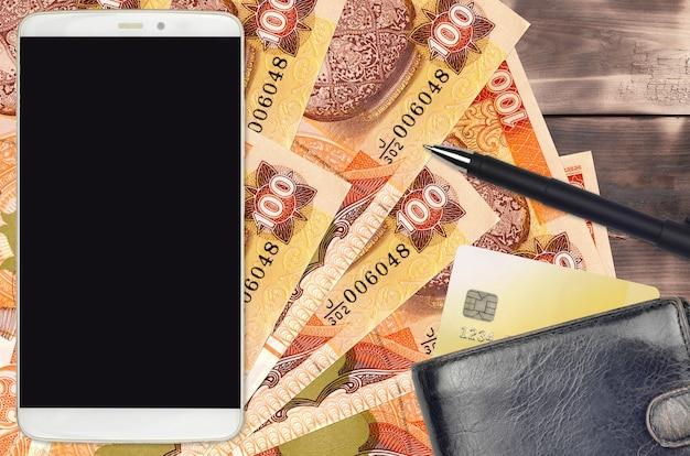 100スリランカルピー紙幣と財布とクレジットカード付きのスマートフォン