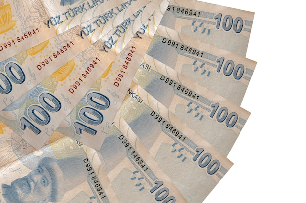 100 turkish liras bills lies isolated on white background with copy space stacked in fan shape close up