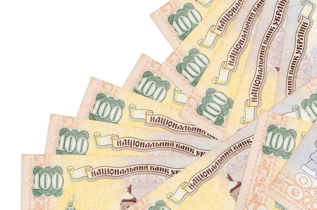 100ウクライナグリブナの請求書は白で隔離された異なる順序であります。ローカルバンキングまたは金儲けの概念。