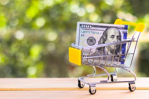 ミニショッピングカートで100米ドル、自然な緑の背景をぼかし