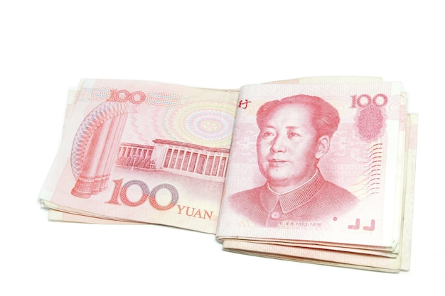 100 yuan bills fold isolated