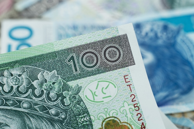 100 zloty, polish currency close up