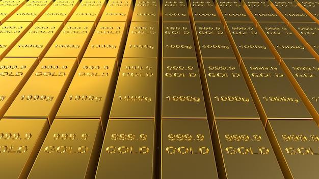 金の延べ棒1000グラムビジネスおよび金融コンテンツの3 dレンダリング。