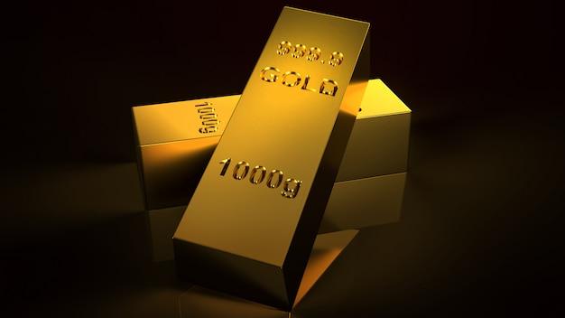Золото в слитках 1000 грамм 3d-рендеринга для бизнеса и финансов.